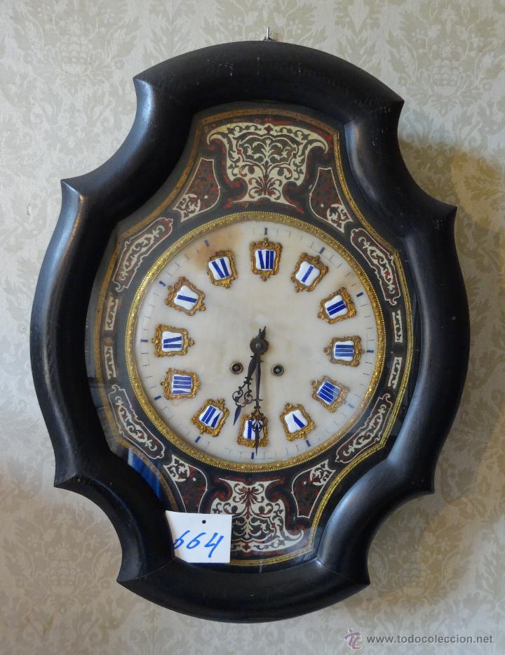 RELOJ DE PARED EN MADERA ESTILO ISABELINO SIGLO XIX-XX- 664 (Relojes - Pared Carga Manual)