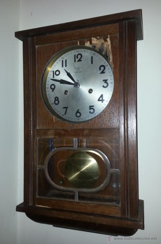 Relojes de pared: JUNGHANS, RELOJ DE PÉNDULO DE PARED. CIRCA 1925. PARA REPASO. CAJA DE NOGAL. - Foto 3 - 47996701
