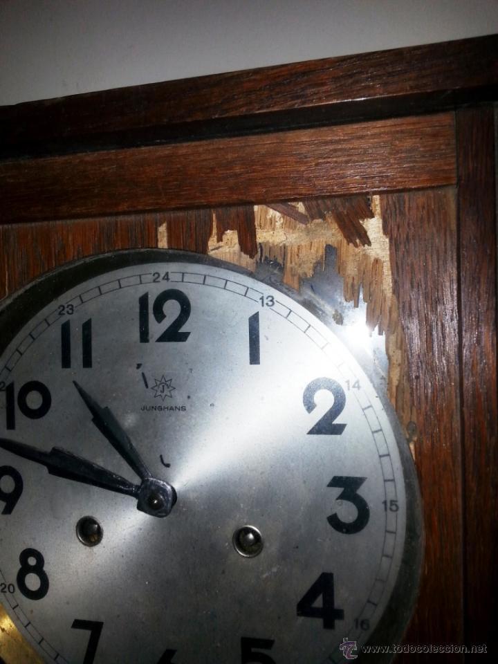 Relojes de pared: JUNGHANS, RELOJ DE PÉNDULO DE PARED. CIRCA 1925. PARA REPASO. CAJA DE NOGAL. - Foto 7 - 47996701
