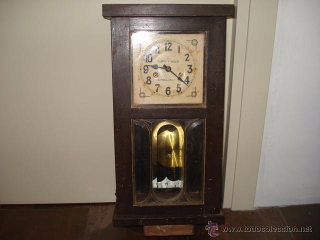 Arte Y Antigüedades Antiguo Reloj Mecánico Manual A Llave De Pared Con Campanadas Principio 1900