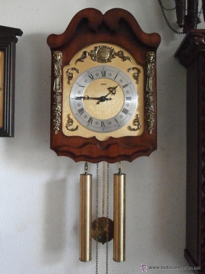 Reloj antiguo de pared alem n con su sistema de comprar for Relojes de pared antiguos de pendulo