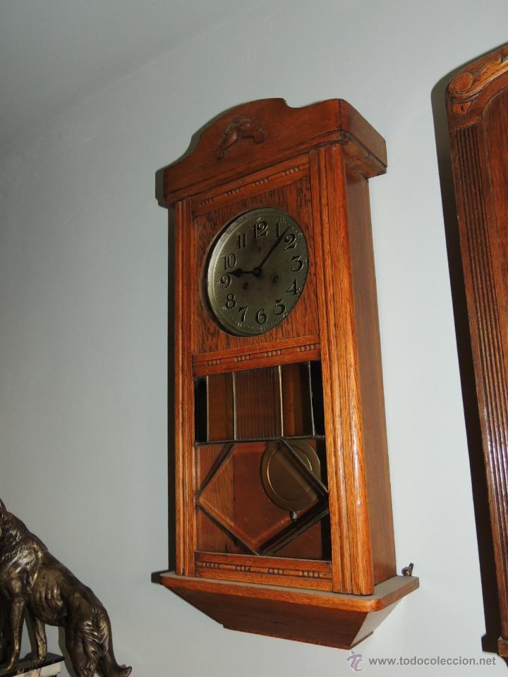 Relojes de pared: LIQUIDACION RELOJ DE PARED MODERNISTA CON CAJA DE ROBLE. ADMITO OFERTAS - Foto 3 - 171362437
