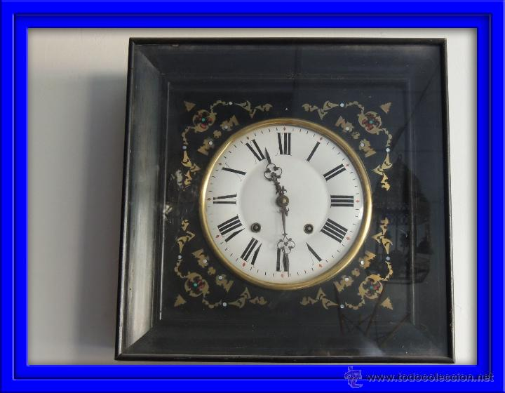 RELOJ DE PARED MARQUETERIA METALICA S. XIX (Relojes - Pared Carga Manual)