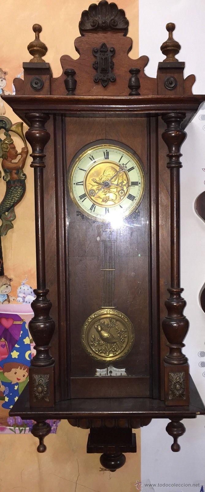 Relojes de pared: precioso reloj alfonsino KIENZLE con pajaros-Alemania- año 1890-191o - Foto 2 - 102960476