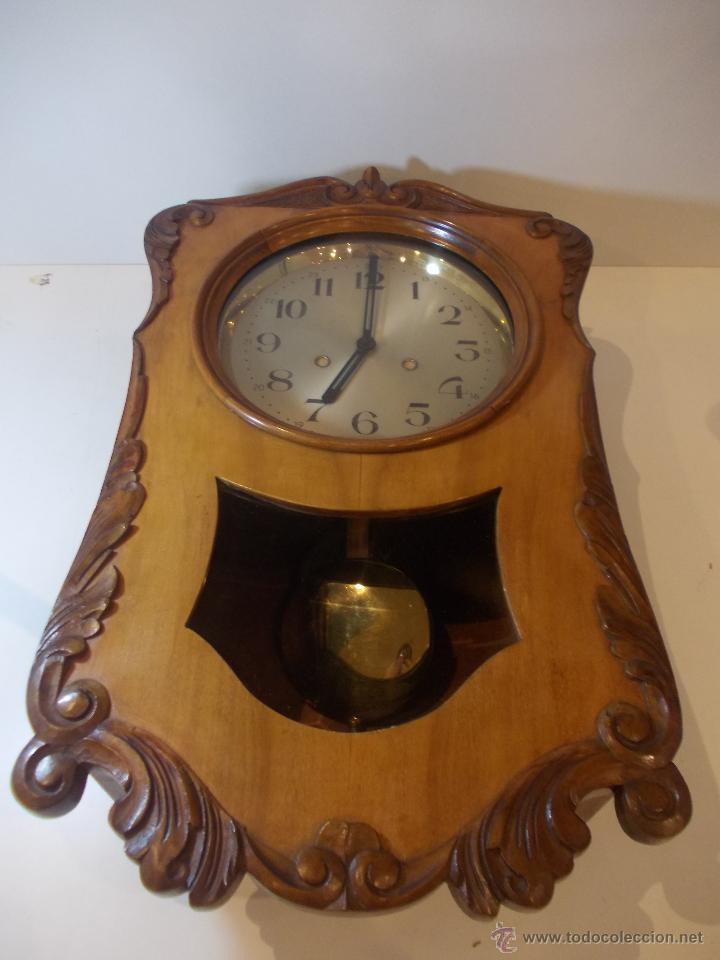 Relojes de pared: ANTIGUO RELOJ DE PARED EN MADERA NOBLE DE PRINCIPIOS DE SIGLO XX - Foto 2 - 50146659