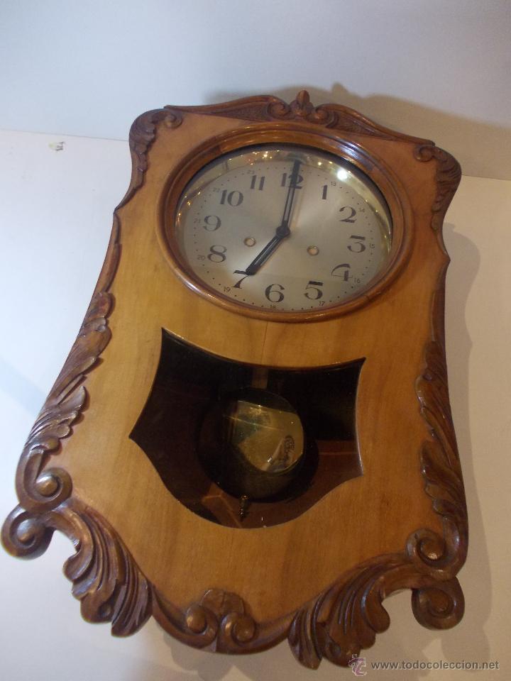 Relojes de pared: ANTIGUO RELOJ DE PARED EN MADERA NOBLE DE PRINCIPIOS DE SIGLO XX - Foto 5 - 50146659