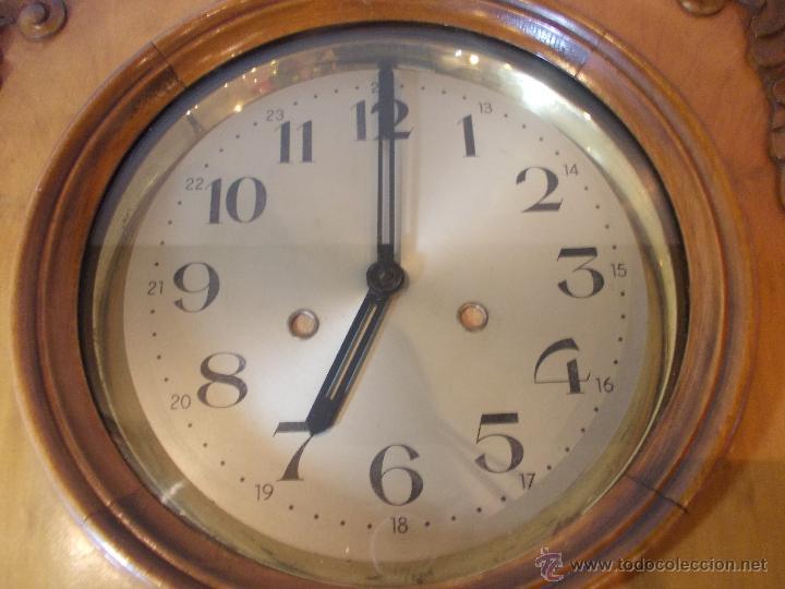 Relojes de pared: ANTIGUO RELOJ DE PARED EN MADERA NOBLE DE PRINCIPIOS DE SIGLO XX - Foto 7 - 50146659