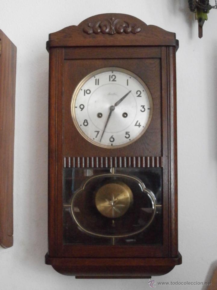 Antiguo reloj de pared alem n de cuerda mec nic comprar for Relojes de pared antiguos de pendulo