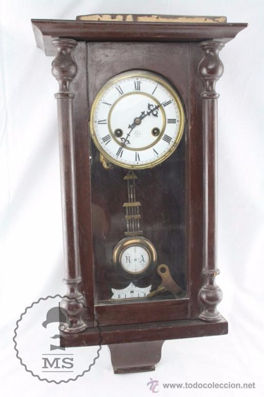 Antiguo reloj de pared junghans caja artesana comprar for Relojes de pared antiguos precios