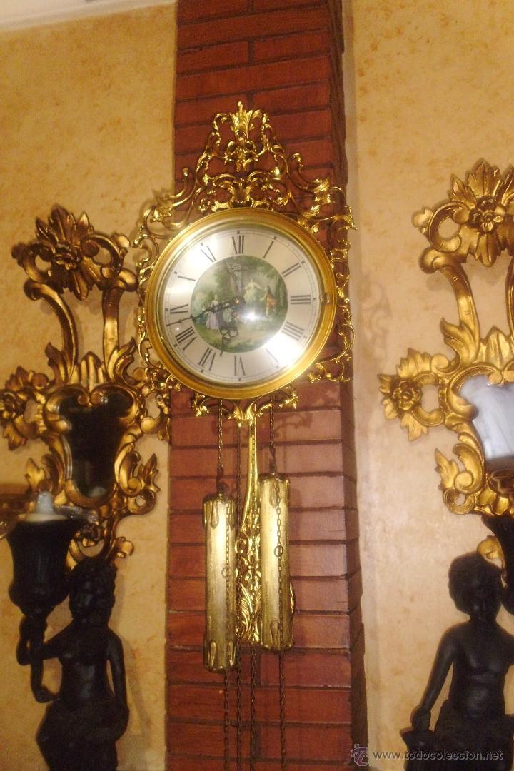 Antiguo reloj de pared aleman en bronce dorado comprar relojes antiguos de pared carga manual - Relojes pared antiguos ...