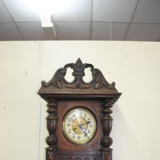 Relojes de pared: RELOJ DE PARED CAJA DE MADERA TALLADA. Lote 53726973