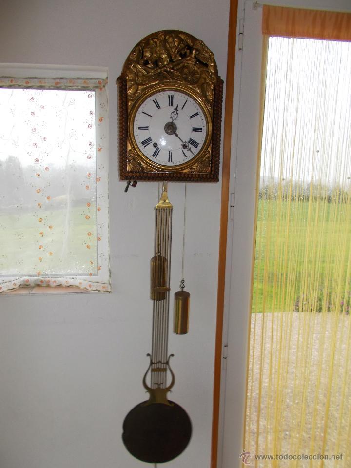 Reloj frances more de pared con pendulo pesas comprar for Relojes de pared antiguos de pendulo