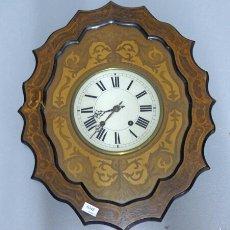 Relojes de pared: RELOJ OJO DE BUEY CON MARQUETERÍA Y MAQUINA MOREZ DESCONOZCO SI FUNCIONA. Lote 54188474