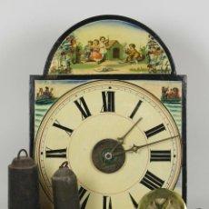Relojes de pared: RATERA O RELOJ DE PARED DE CARGA MANUAL. EN MADERA POLICROMADA. SIGLO XIX.. Lote 53524700