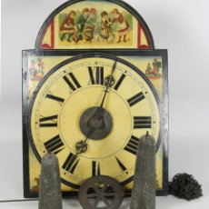 Relojes de pared: RATERA. RELOJ DE PARED EN MADERA POLICROMADA. JOSE MUXI Y VILA. CARGA MANUAL. SIGLO XIX.. Lote 52711816