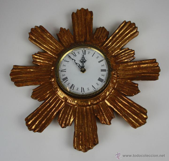 Reloj de pared en forma de sol madera talla comprar - Reloj pared madera ...
