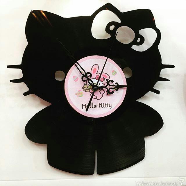 Vinilos Hello Kitty Pared.Reloj Hecho A Mano Con Discos De Vinilo
