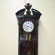 Relojes de pared - RELOJ ANTIGUO DE PARED CAJA DE NOGAL Y PÉNDULO DE MERCURIO, SIGLO XIX - 56879920