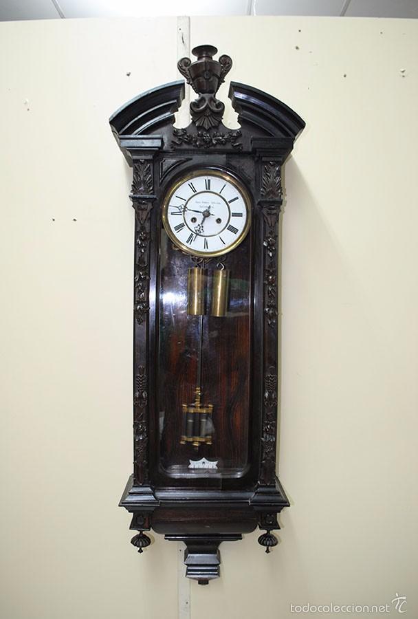 Relojes de pared: RELOJ ANTIGUO DE PARED CAJA DE NOGAL Y PÉNDULO DE MERCURIO, SIGLO XIX - Foto 2 - 56879920