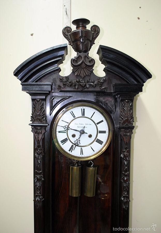 Relojes de pared: RELOJ ANTIGUO DE PARED CAJA DE NOGAL Y PÉNDULO DE MERCURIO, SIGLO XIX - Foto 3 - 56879920