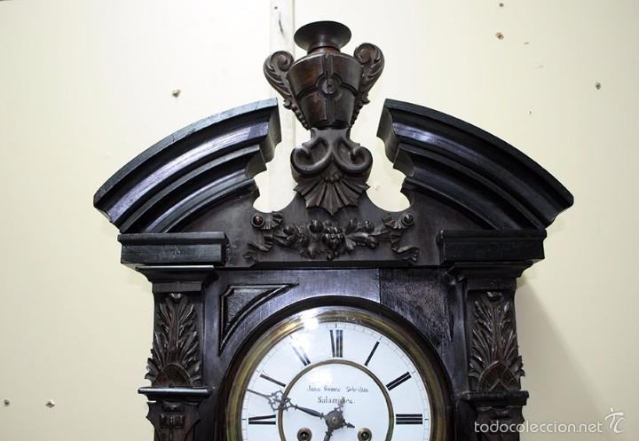 Relojes de pared: RELOJ ANTIGUO DE PARED CAJA DE NOGAL Y PÉNDULO DE MERCURIO, SIGLO XIX - Foto 4 - 56879920