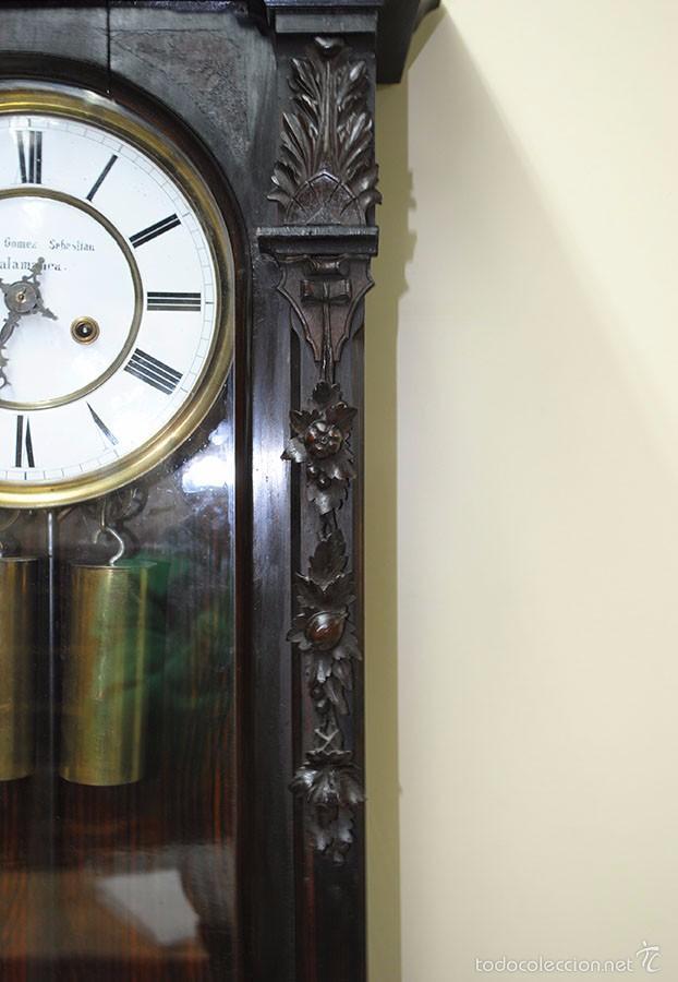 Relojes de pared: RELOJ ANTIGUO DE PARED CAJA DE NOGAL Y PÉNDULO DE MERCURIO, SIGLO XIX - Foto 7 - 56879920