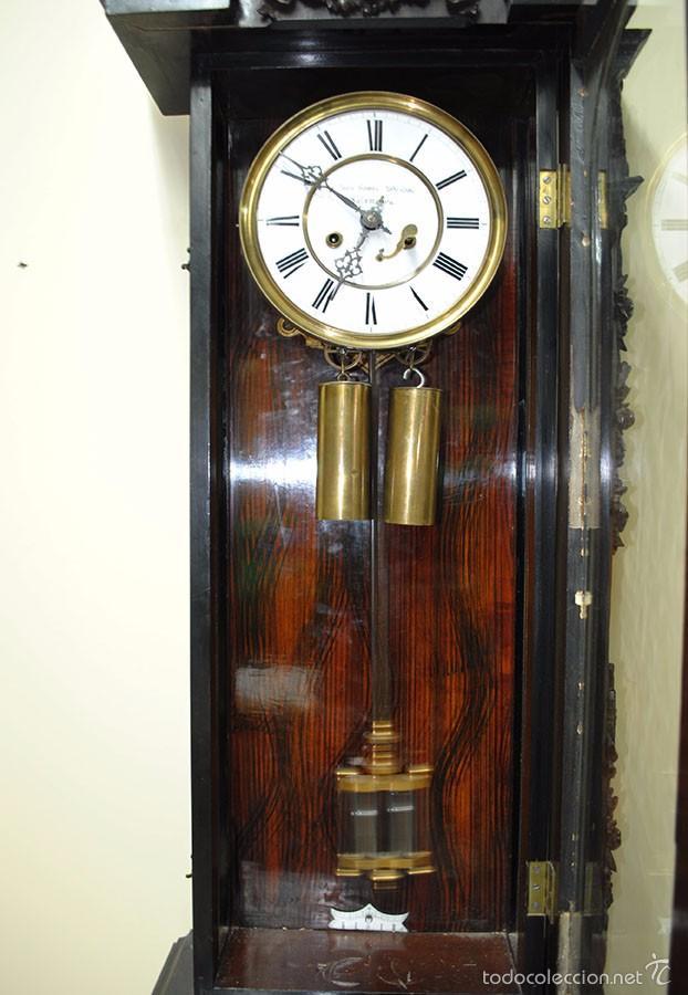 Relojes de pared: RELOJ ANTIGUO DE PARED CAJA DE NOGAL Y PÉNDULO DE MERCURIO, SIGLO XIX - Foto 8 - 56879920