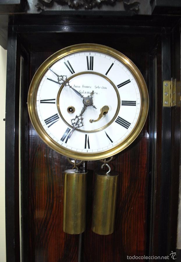 Relojes de pared: RELOJ ANTIGUO DE PARED CAJA DE NOGAL Y PÉNDULO DE MERCURIO, SIGLO XIX - Foto 9 - 56879920
