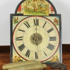 Relojes de pared: RATERA O RELOJ DE PARED DE CARGA MANUAL. EN MADERA POLICROMADA. SIGLO XIX.. Lote 56894341