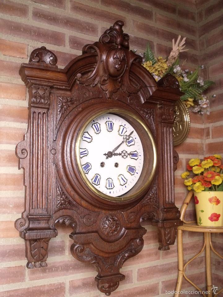 ¡¡GRAN OJO BUEY EN TALLA DE MADERA EN FORMA DE ESCUDO!!!- AÑO 1880- EN ROBLE (Relojes - Pared Carga Manual)