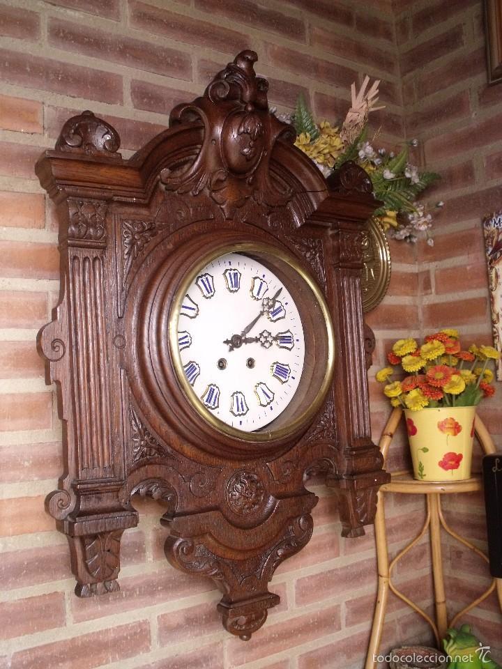Relojes de pared: ¡¡GRAN OJO BUEY EN TALLA DE MADERA en forma de escudo!!!- año 1880- en roble - Foto 2 - 57871566