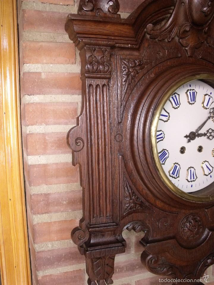 Relojes de pared: ¡¡GRAN OJO BUEY EN TALLA DE MADERA en forma de escudo!!!- año 1880- en roble - Foto 4 - 57871566