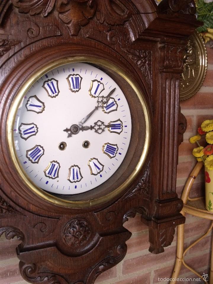 Relojes de pared: ¡¡GRAN OJO BUEY EN TALLA DE MADERA en forma de escudo!!!- año 1880- en roble - Foto 6 - 57871566