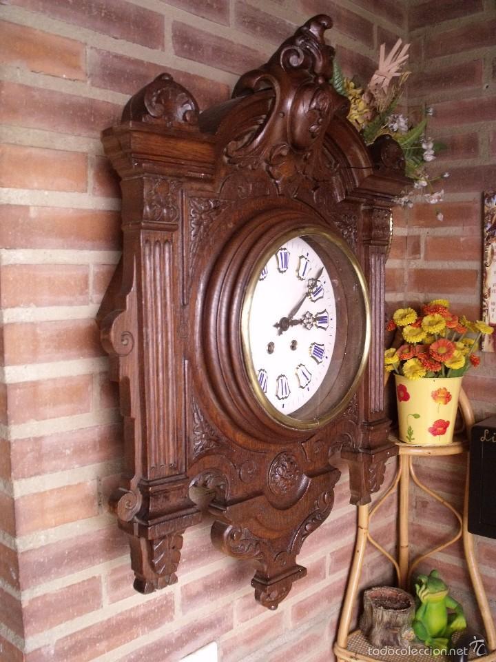 Relojes de pared: ¡¡GRAN OJO BUEY EN TALLA DE MADERA en forma de escudo!!!- año 1880- en roble - Foto 8 - 57871566
