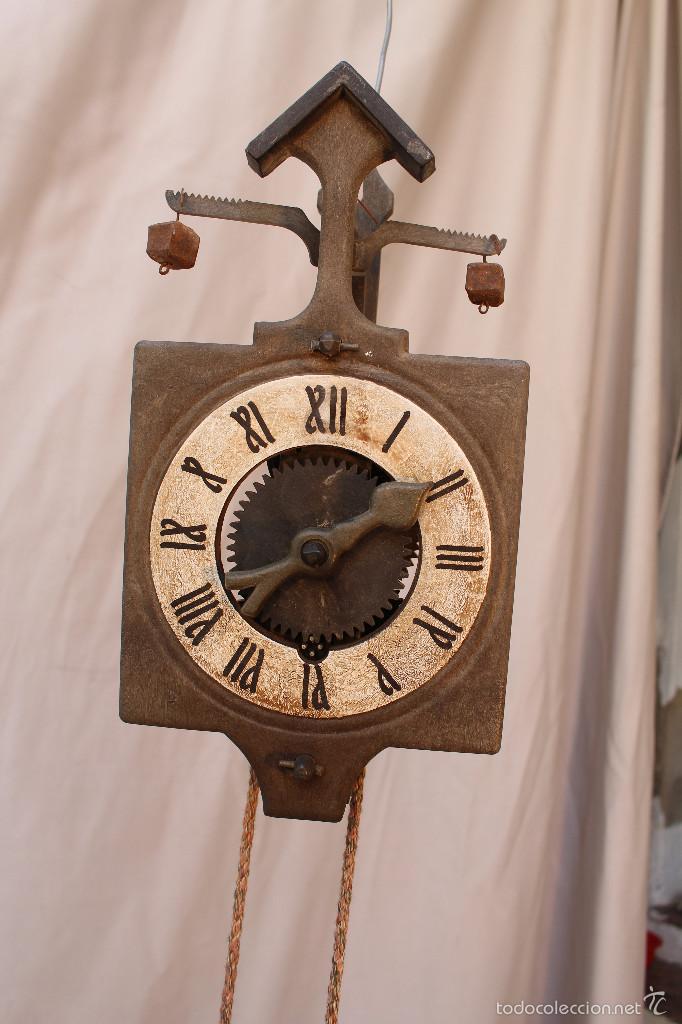 Antiguo y rustico reloj de pared con pesas de p comprar relojes antiguos de pared carga manual - Relojes pared antiguos ...