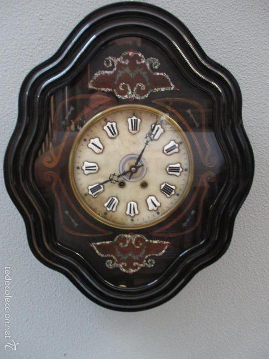 RELOJ DE PARED - ISABELINO - MARQUETERÍA EN NÁCAR - ESFERA DE ALABASTRO - MAQUINA PARÍS - FUNCIONA (Relojes - Pared Carga Manual)
