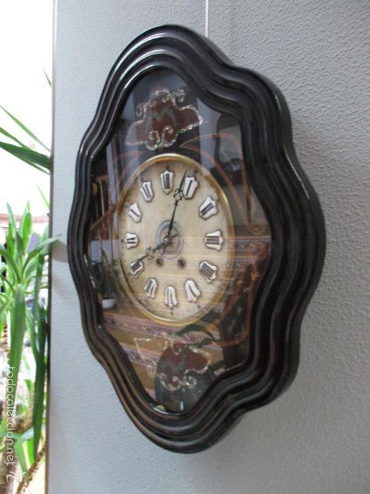 Relojes de pared: Reloj de Pared - Isabelino - Marquetería en Nácar - Esfera de Alabastro - Maquina París - Funciona - Foto 3 - 60943755