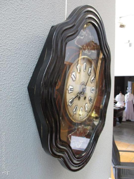 Relojes de pared: Reloj de Pared - Isabelino - Marquetería en Nácar - Esfera de Alabastro - Maquina París - Funciona - Foto 10 - 60943755