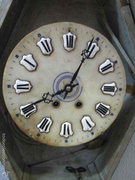 Relojes de pared: Reloj de Pared - Isabelino - Marquetería en Nácar - Esfera de Alabastro - Maquina París - Funciona - Foto 11 - 60943755