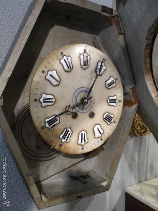 Relojes de pared: Reloj de Pared - Isabelino - Marquetería en Nácar - Esfera de Alabastro - Maquina París - Funciona - Foto 12 - 60943755