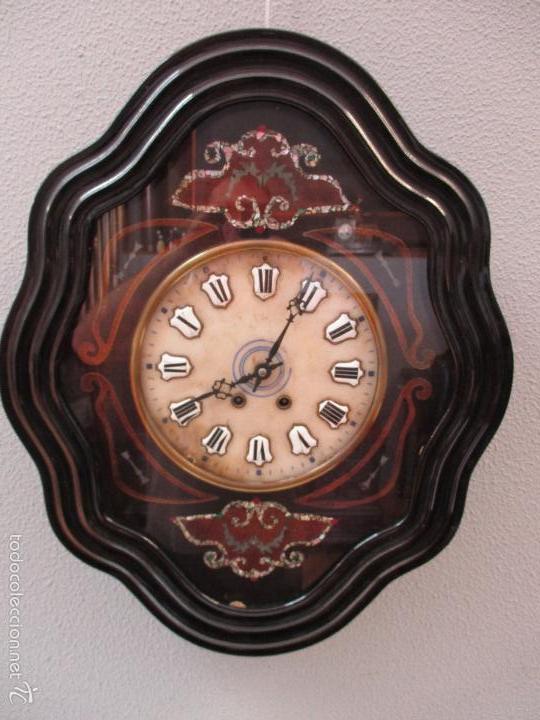 Relojes de pared: Reloj de Pared - Isabelino - Marquetería en Nácar - Esfera de Alabastro - Maquina París - Funciona - Foto 14 - 60943755