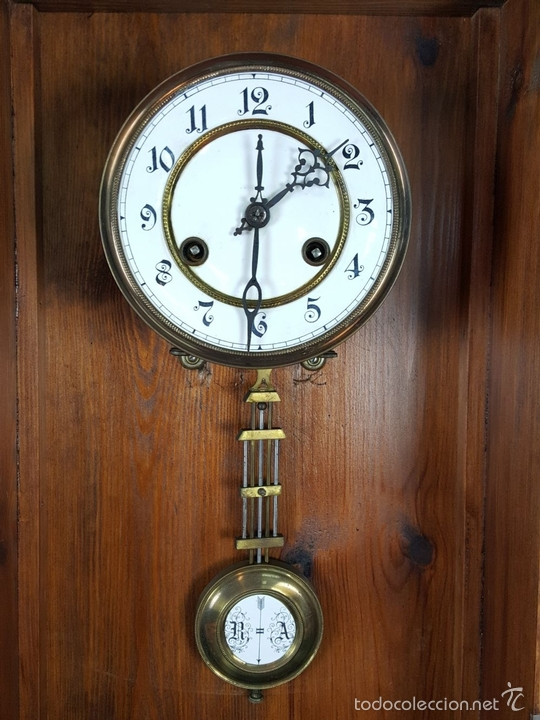 Relojes de pared: RELOJ DE PARED EN MADERA. MAQUINARIA PHILIP HASS SOHN. ALEMANIA. SIGLO XIX-XX. - Foto 14 - 139578352