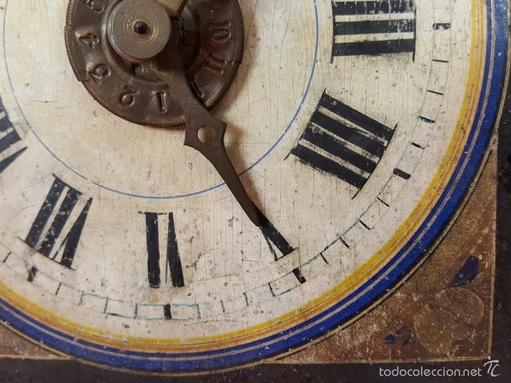 Relojes de pared: RELOJ DE PARED O RATERA EN MINIATURA. FRONTAL POLICROMADO. ALEMANIA. SIGLO XIX - Foto 3 - 61067891