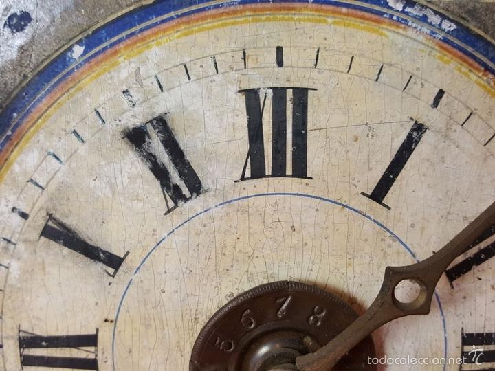 Relojes de pared: RELOJ DE PARED O RATERA EN MINIATURA. FRONTAL POLICROMADO. ALEMANIA. SIGLO XIX - Foto 4 - 61067891