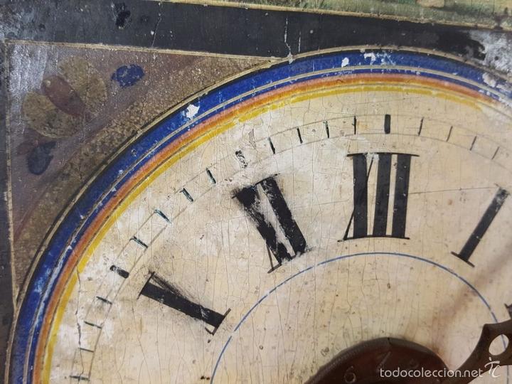Relojes de pared: RELOJ DE PARED O RATERA EN MINIATURA. FRONTAL POLICROMADO. ALEMANIA. SIGLO XIX - Foto 5 - 61067891