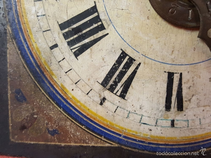 Relojes de pared: RELOJ DE PARED O RATERA EN MINIATURA. FRONTAL POLICROMADO. ALEMANIA. SIGLO XIX - Foto 6 - 61067891