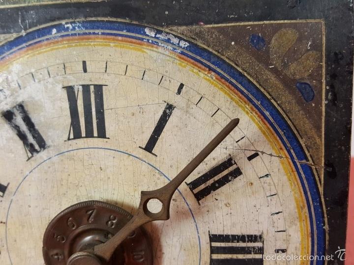 Relojes de pared: RELOJ DE PARED O RATERA EN MINIATURA. FRONTAL POLICROMADO. ALEMANIA. SIGLO XIX - Foto 7 - 61067891