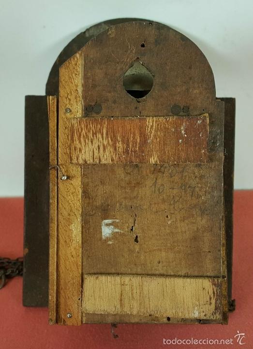 Relojes de pared: RELOJ DE PARED O RATERA EN MINIATURA. FRONTAL POLICROMADO. ALEMANIA. SIGLO XIX - Foto 8 - 61067891