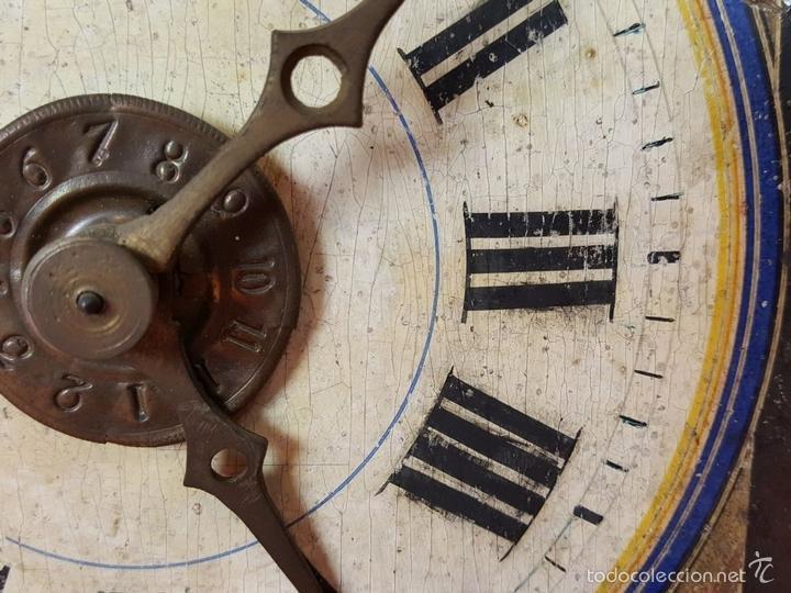 Relojes de pared: RELOJ DE PARED O RATERA EN MINIATURA. FRONTAL POLICROMADO. ALEMANIA. SIGLO XIX - Foto 12 - 61067891