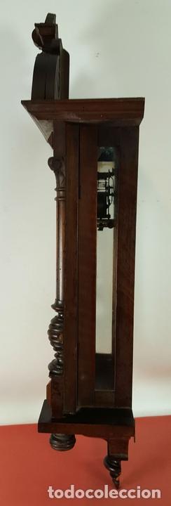 Relojes de pared: RELOJ DE PARED. MUEBLE EN MADERA DE NOGAL. CARL WERNER. ALEMANIA. SIGLO XIX. - Foto 8 - 62578452
